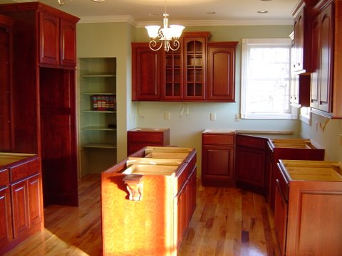 cherry kitchen with granite tops