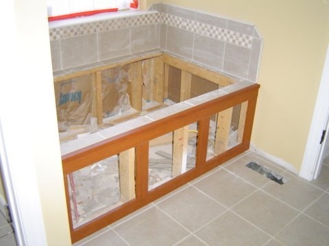 custom bath front awaiting doors