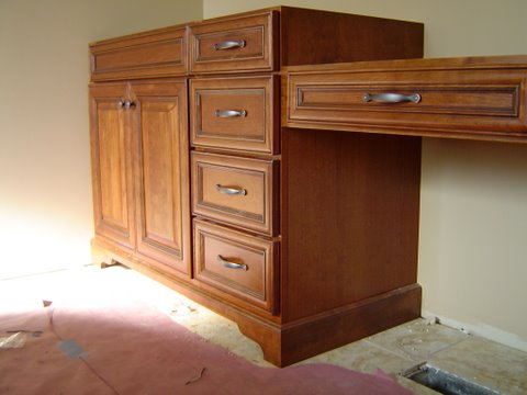 Furniture Base on a Bathroom Vanity Cabinet